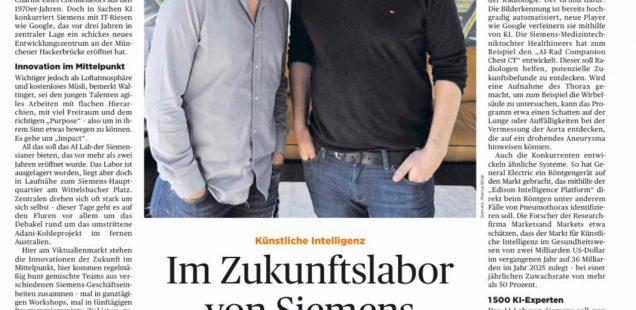 Handelsblatt: Start-up-Atmosphäre im Traditionskonzern: Siemens stellt Innovationen in den Mittelpunkt